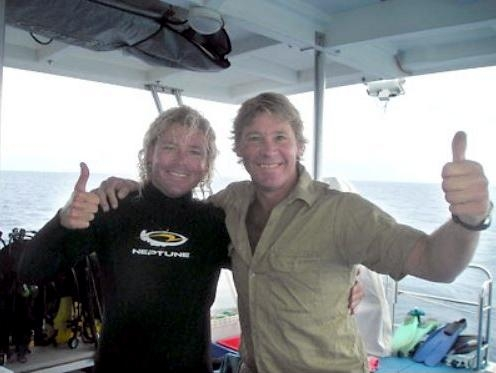 "What is believed to be the last known photo of Steve taken on-board ""Croc One"" with the boat's Skipper Chris Reed on the morning of his fateful dive."