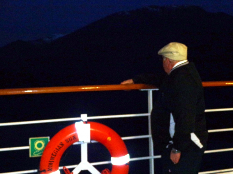 "Dr. Mann passing the Robson Bight-Michael Bigg Ecological Reserve and remembering his mentor Dr. Michael Bigg during he & Christa's 2013 Alaskan cruise on Tuesday morning June 4th on-board the Norwegian Cruise Line's ""Sun"" at 4:17 am."