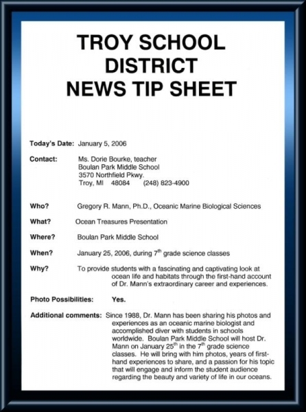 Program announcement from the Troy, MI school district