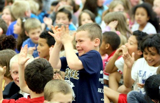 Elementary school assembly highlight in Wyoming, MI