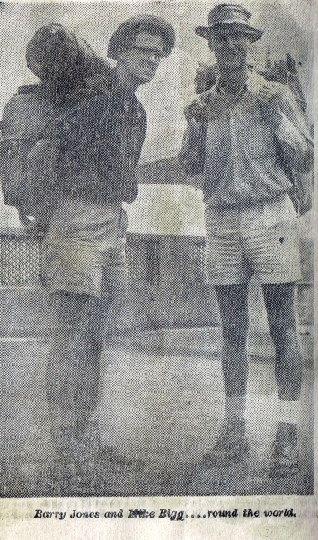 Life-long friends Barry Jones & Mike Bigg when they landed in Ceylon in 1962 (each were 23 years old) midway on their year-long hitchhiking trip throughout the Pacific and Indian Ocean countries. (submitted by Dr. Barry C. Jones)