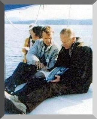 Dr. Michael A. Bigg with Prince Philip, Duke of Edinburgh on a whale watch in 1987