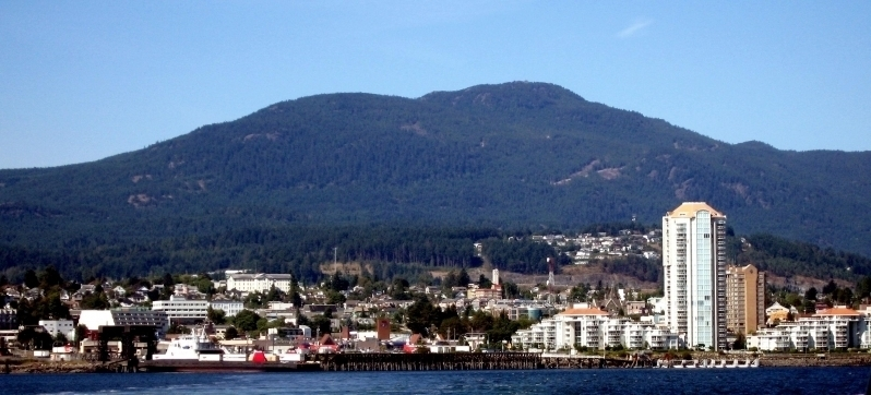 Nanaimo, BC skyline with Mt. Benson in the background
